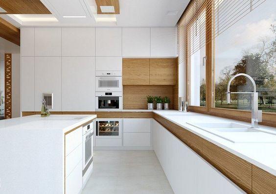 Cuisine blanche et bois en matériaux nobles