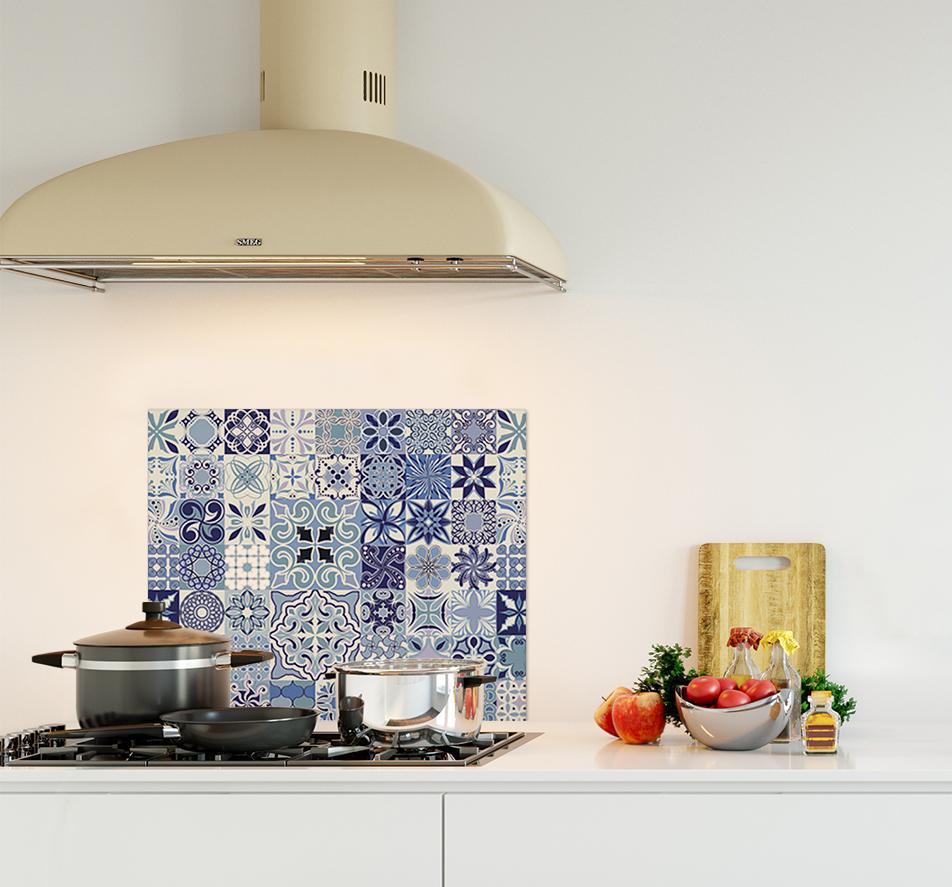 credence de cuisine carreaux ciment mosaïque bleu