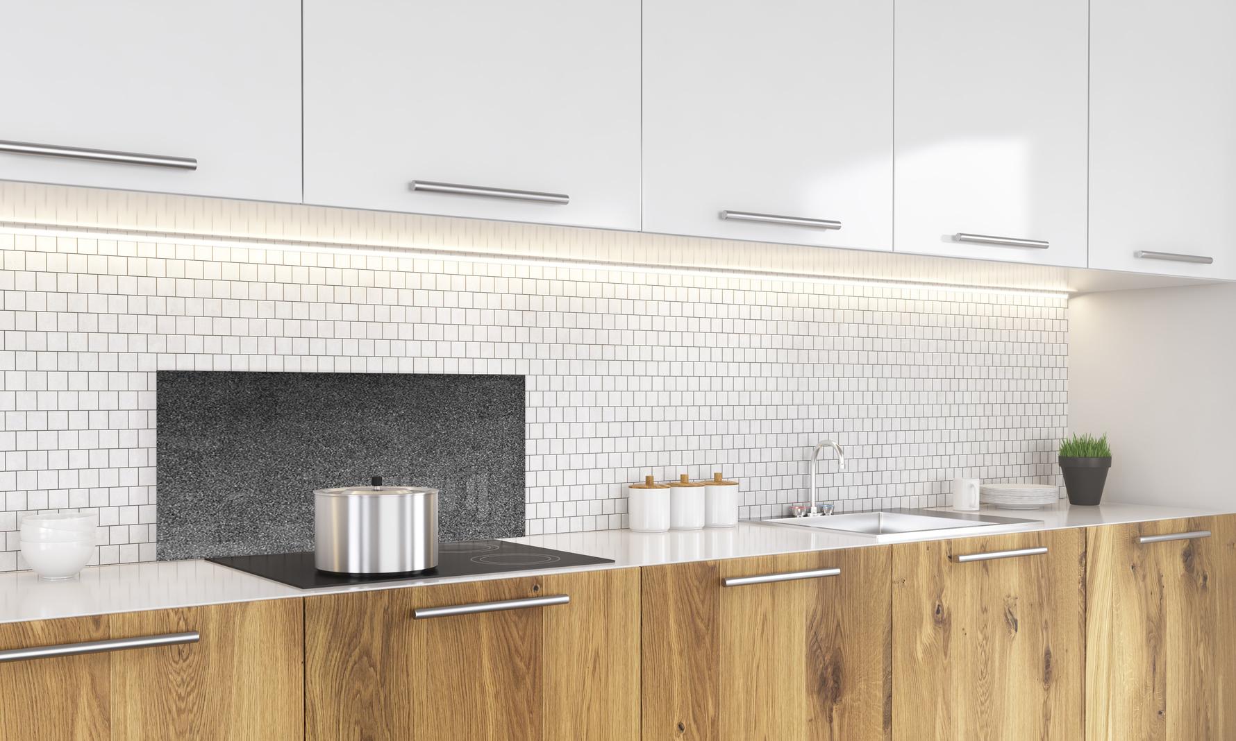 credence de cuisine en verre brillant effet granit gris